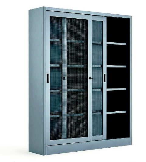 Armadio metallico 120x45x200h ante scorrevoli in rete