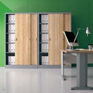 Armadio metallico 120x45x200h ante scorrevoli in legno